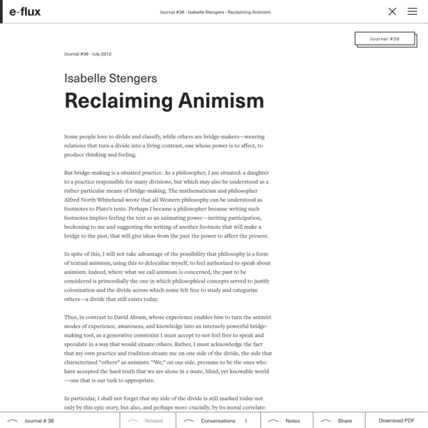 Reclaiming Animism