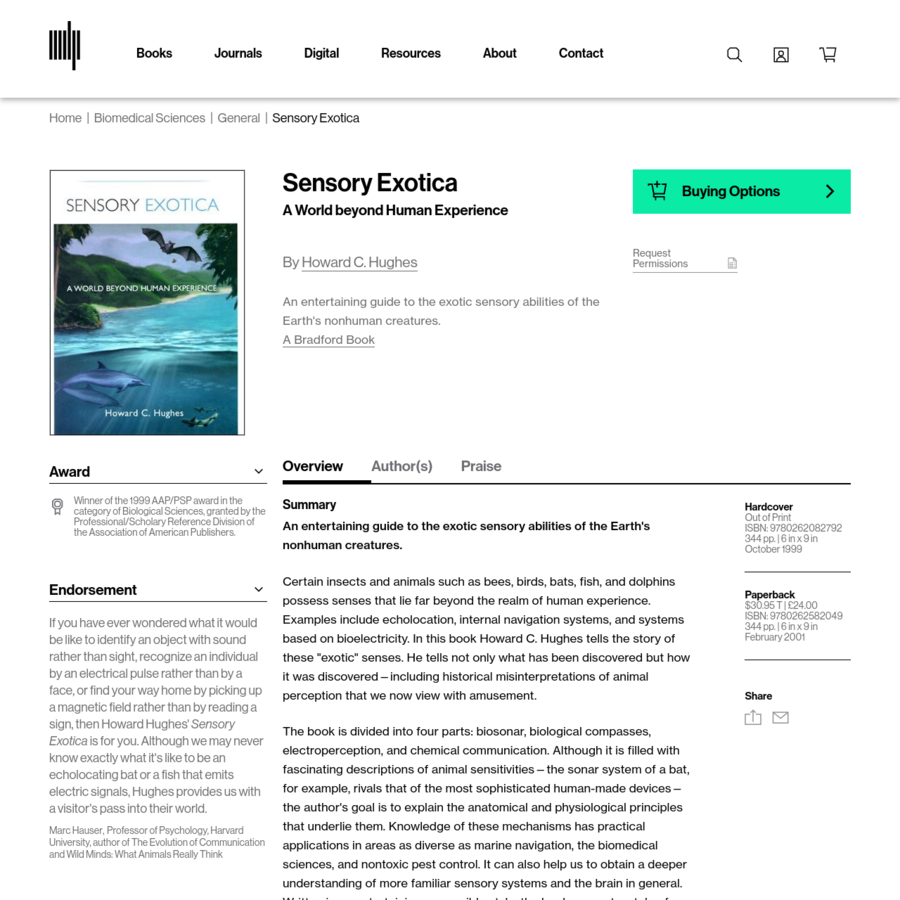 An entertaining guide to the exotic sensory abilities of the Earth's nonhuman creatures. Certain insects and animals such as bees, birds, bats, fish, and dolphins possess senses that lie far beyond the realm of human experience. Examples include echolocation, internal navigation systems, and systems based on bioelectricity. In this book Howard C.