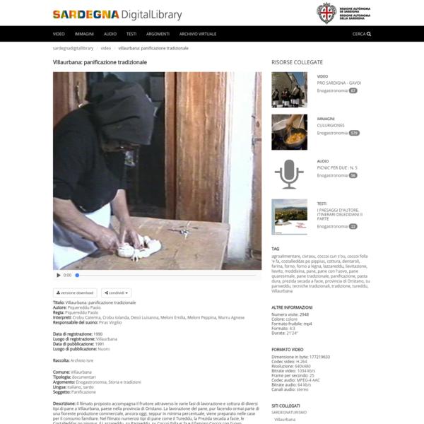 Sardegna DigitalLibrary - Video - Villaurbana: panificazione tradizionale