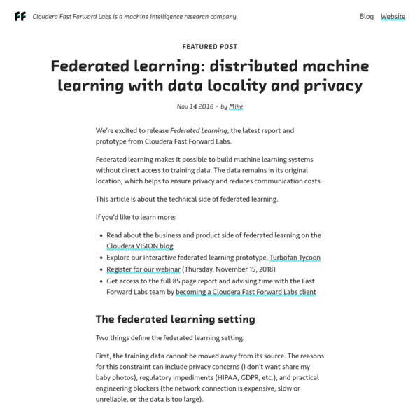Federated learning: distributed machine learning with data locality and privacy