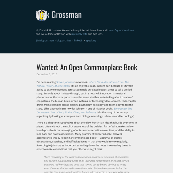 Wanted: An Open Commonplace Book