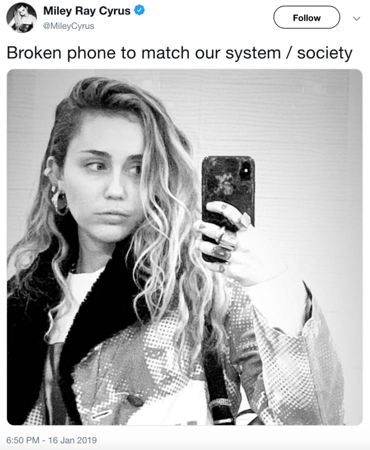 Miley Cyrus Broken Phone