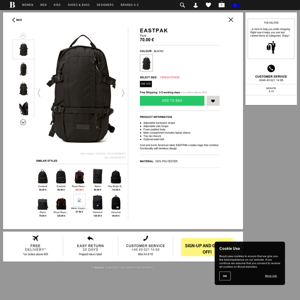 Eastpak Floid (Black2) - In Stock! - Fast Delivery with Boozt.com