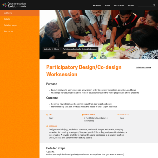 Purpose Engage real world users in design activities in order to uncover new ideas, priorities, and flows Challenge our assumptions about featur...