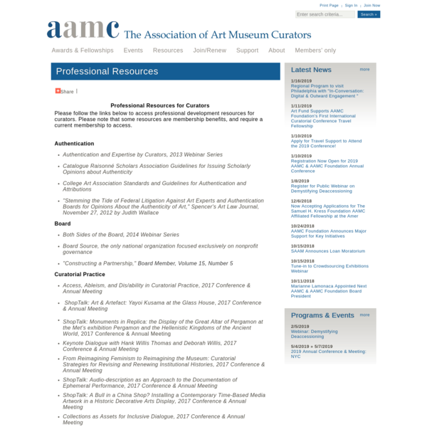 Professional Resources - Association of Art Museum Curators