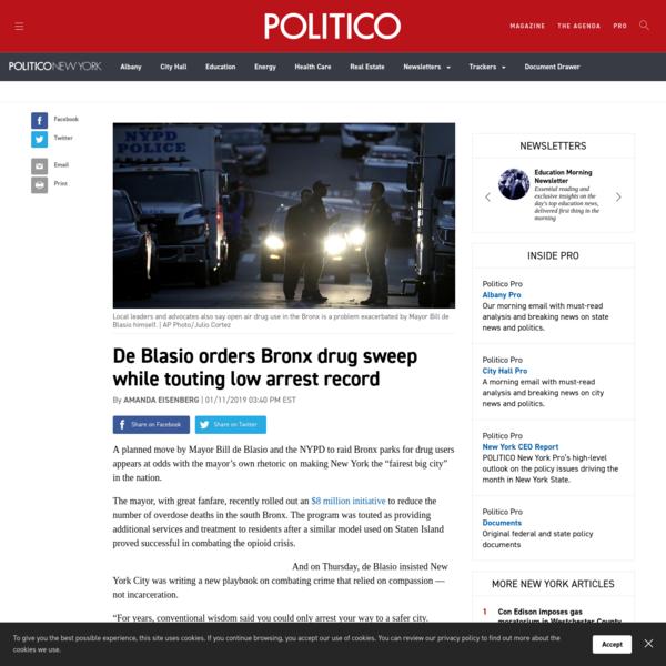 De Blasio orders Bronx drug sweep while touting low arrest record
