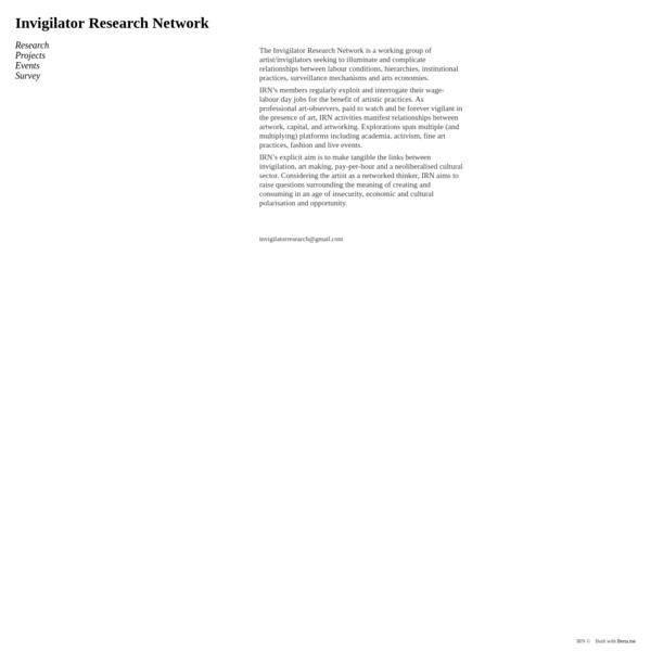 The Invigilator Research Network is a working group of artist/invigilators seeking to illuminate and complicate relationships between labour conditions, hierarchies, institutional practices, surveillance mechanisms and arts economies.