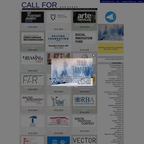 Call for ........   Art related Awards, Prizes, Competitions, Exhibitions, Festivals, Participations, Entries, Scholarships,...