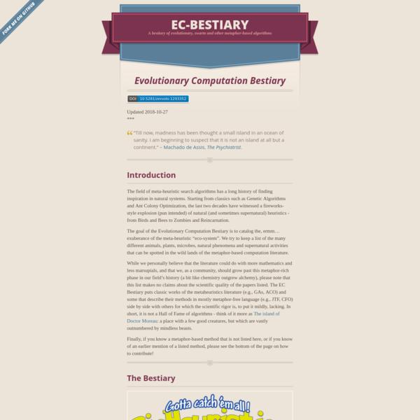 Evolutionary Computation Bestiary