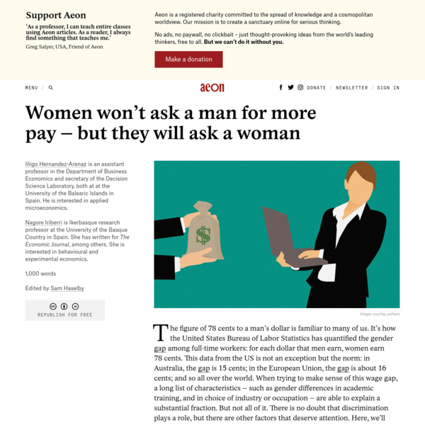 Women won't ask a man for more pay - but they will ask a woman - Iñigo Hernandez-Arenaz & Nagore Iriberri   Aeon Ideas