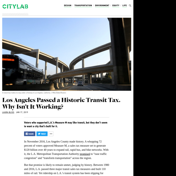 """In November 2016, Los Angeles County made history. A whopping 72 percent of voters approved Measure M, a sales tax measure set to generate $120 billion over 40 years to expand rail, rapid bus, and bike networks. With it, the L.A. Metropolitan Transportation Authority promised to """"ease traffic congestion"""" and """"transform transportation"""" across the region."""