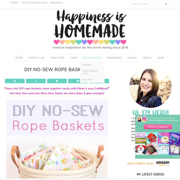 DIY No-Sew Rope Baskets - Happiness is Homemade