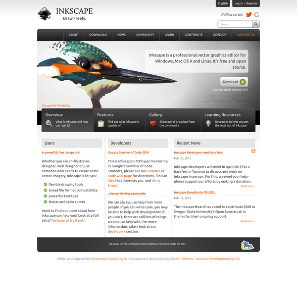 Inkscape is professional quality vector graphics software which runs on Windows, Mac OS X and Linux.