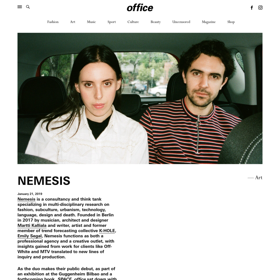 Berlin-based Emily Segal and Martti Kalliala introduce Nemesis, a new kind of think tank and consultancy company.