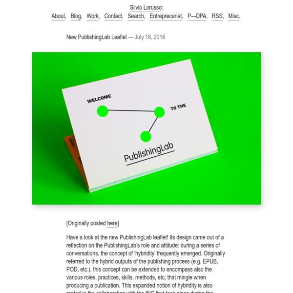 New PublishingLab Leaflet - Silvio Lorusso . com