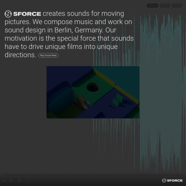 SForce creates sounds for moving pictures. We compose music and work on sound design in Berlin, Germany.