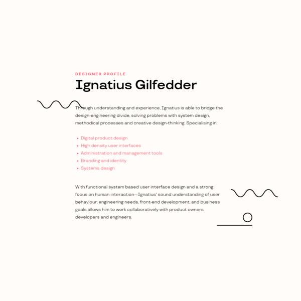Ignatius Gilfedder: Designer