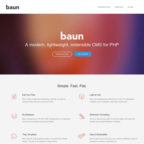 Baun - A modern, lightweight, extensible CMS for PHP