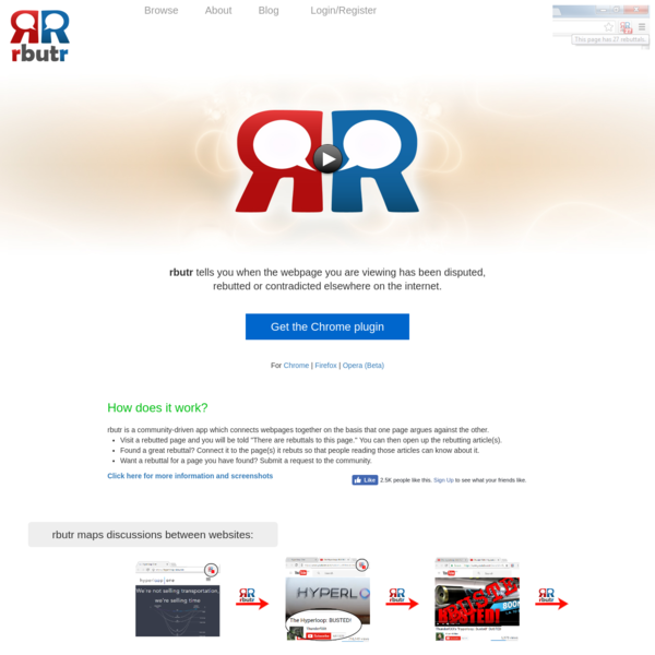 Find rebuttals and promote critical thinking with rbutr