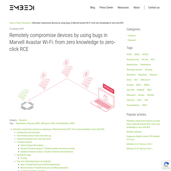 Remotely compromise devices by using bugs in Marvell Avastar Wi-Fi: from zero knowledge to zero-click RCE Introduction and motivation How wireless device works and starts up Interaction between Wi-Fi SoC and driver Firmware analysis Static firmware file analysis Dynamic firmware analysis. ThreadX runtime structures recovery Dynamic firmware analysis.