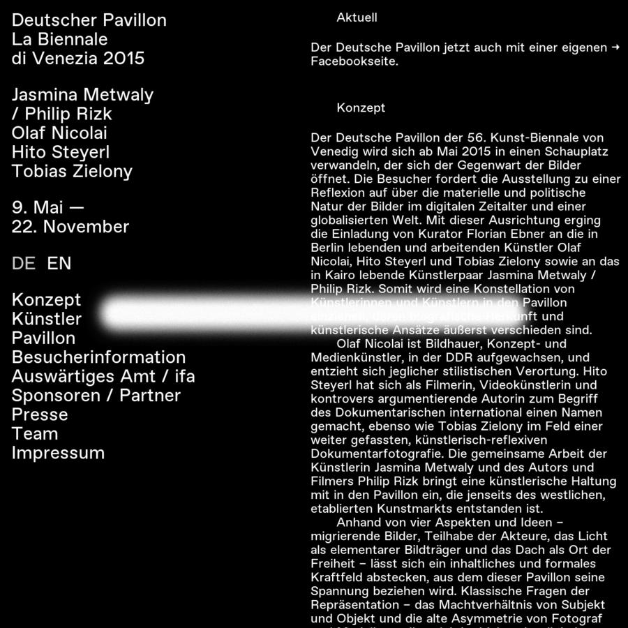Geboren 1982 in Warschau / Geboren 1982 in Limassol, Zypern Leben und arbeiten in Kairo Seit 2010 arbeiten Metwaly und Rizk regelmäßig zusammen Biografie [PDF, 94 KB] Geboren 1962 in Halle (Saale) Lebt und arbeitet in Berlin Seit 2011 Professor für Bildhauerei und Grundlagen des dreidimensionalen Gestaltens an der Akademie