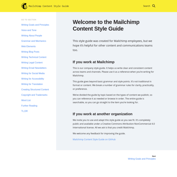 Welcome to the Mailchimp Content Style Guide | Mailchimp Content Style Guide