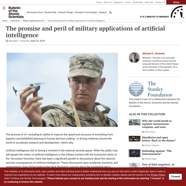 The promise and peril of military applications of artificial intelligence - Bulletin of the Atomic Scientists