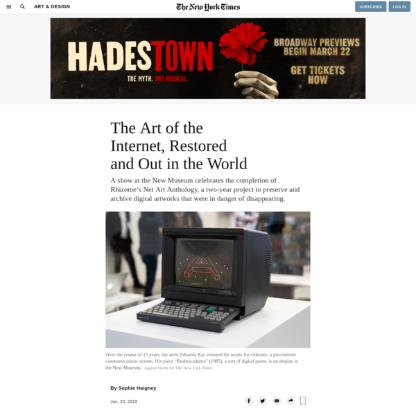 The Art of the Internet, Restored and Out in the World