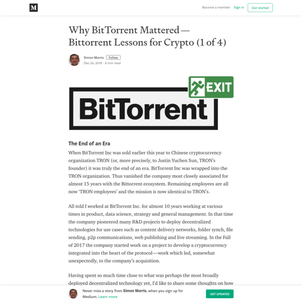 Why BitTorrent Mattered - Bittorrent Lessons for Crypto (1 of 4)