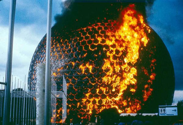 The Montreal Biosphère in flames after being ignited by welding work on the acrylic covering