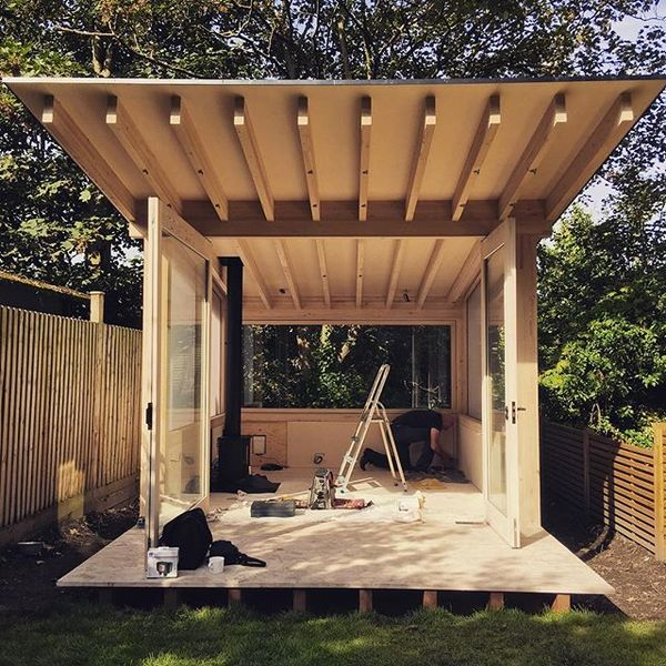 Finishing touches...Our garden pavilion being tweaked down in south east with @jackcarterarchitects and @thorntontomasetti S...