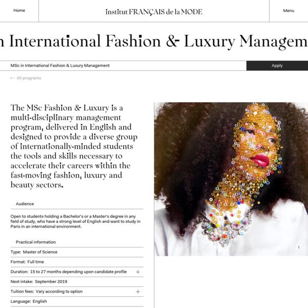 MSc Fashion & Luxury | Institut Français de la Mode