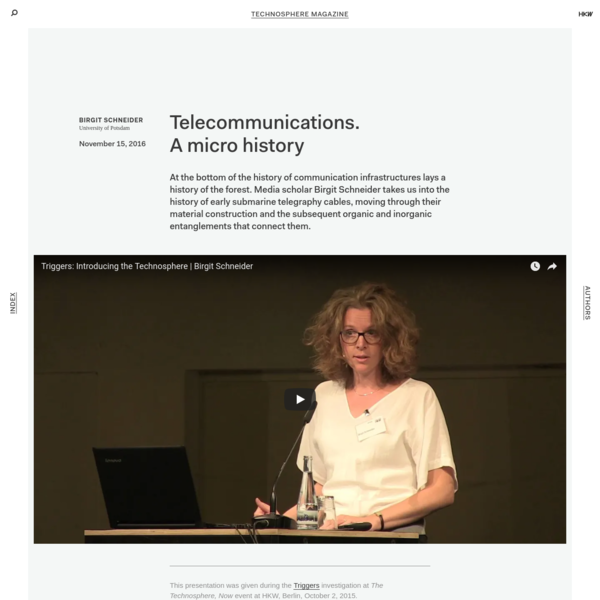 Technosphere Magazine: Telecommunications. A micro history