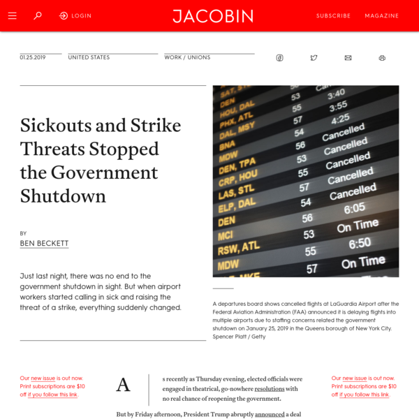 Sickouts and Strike Threats Stopped the Government Shutdown