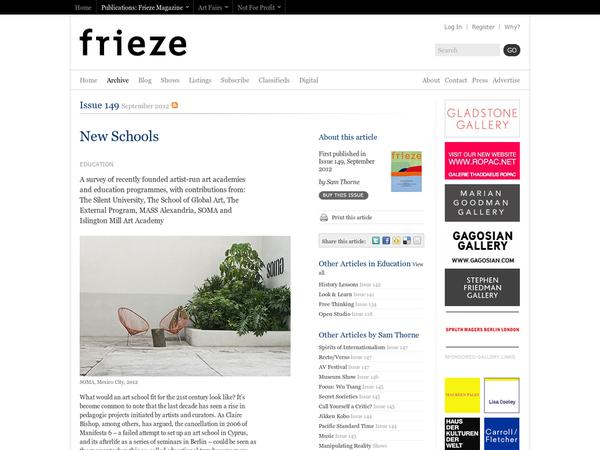 Frieze Magazine | Archive | New Schools