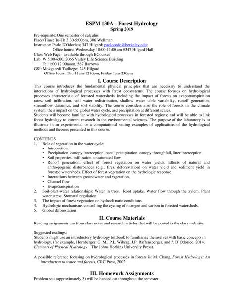UC Berkeley ESPM130A: Forest Hydrology