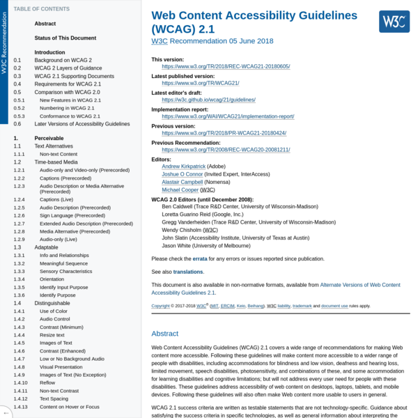 Web Content Accessibility Guidelines (WCAG) 2.1