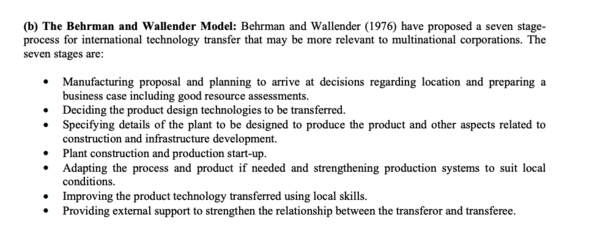 The Behrman and Wallender Model