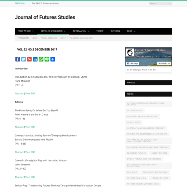 Introduction Introduction by the Special Editor to the Symposium on Gaming Futures Ivana Milojević (PP. 1-4) Abstract   View PDF Articles The Polak Game, Or: Where Do You Stand? Peter Hayward and S...