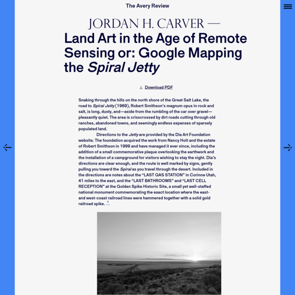 The Avery Review | Land Art in the Age of Remote Sensing or: Google Mapping the Spiral Jetty