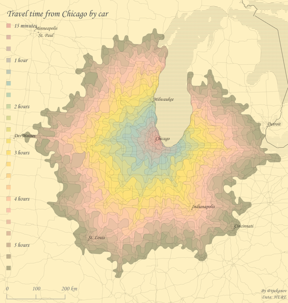 Travel time from Chicago by car