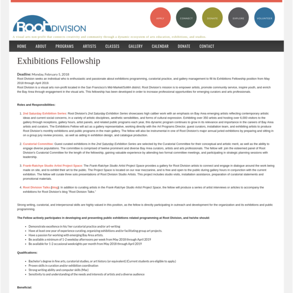 Exhibitions Fellowship | Root Division