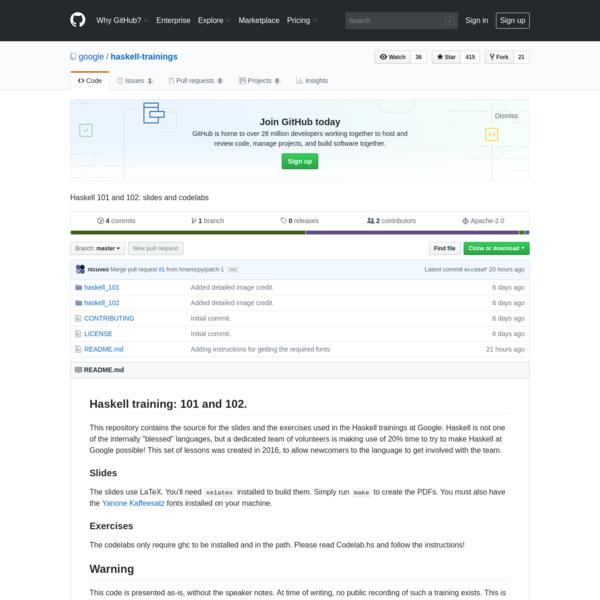 google/haskell-trainings