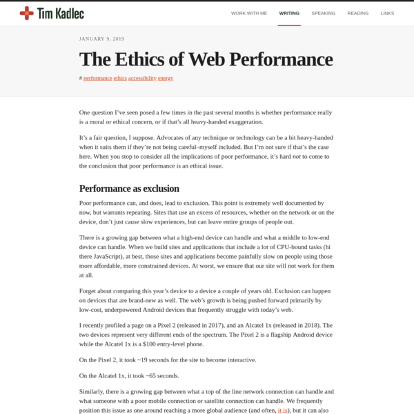The Ethics of Web Performance