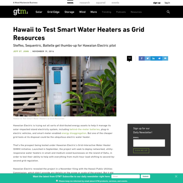 Hawaii to Test Smart Water Heaters as Grid Resources