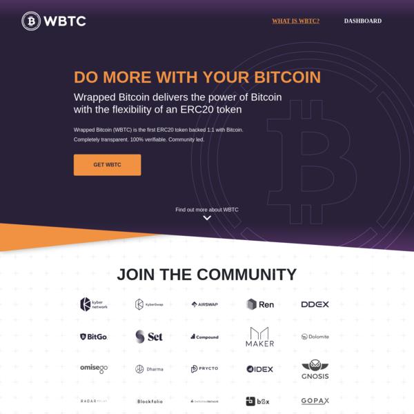 WBTC Wrapped Bitcoin an ERC20 token backed 1:1 with Bitcoin
