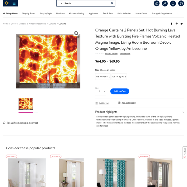 Orange Curtains 2 Panels Set, Hot Burning Lava Texture with Bursting Fire Flames Volcanic Heated Magma Image, Living Room Be...
