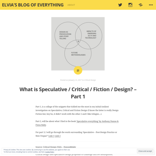 What is Speculative / Critical / Fiction / Design? - Part 1