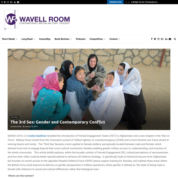 The 3rd Sex: Gender and Contemporary Conflict - The Wavell Room