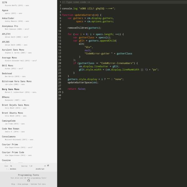 Programming Fonts - Test Drive